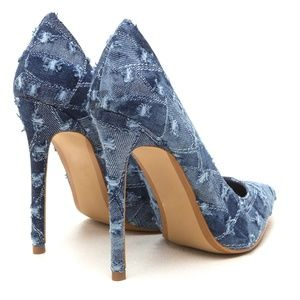 Shoes - Asiah Distressed Blue Denim Pointed Toe Pumps